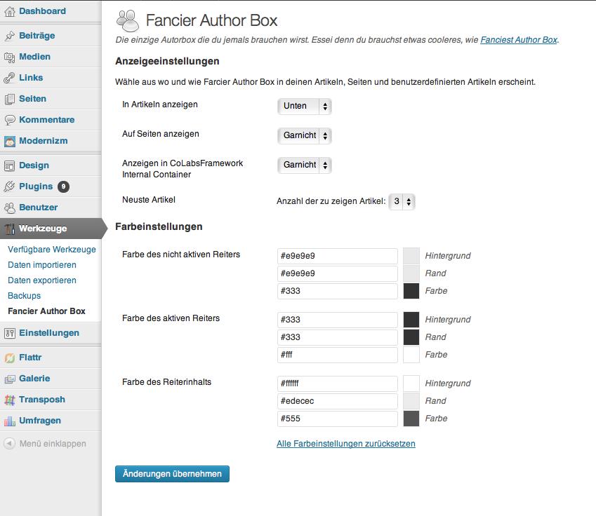 Die Einstellungen der Fancier Author Box findet man unter Werkzeuge