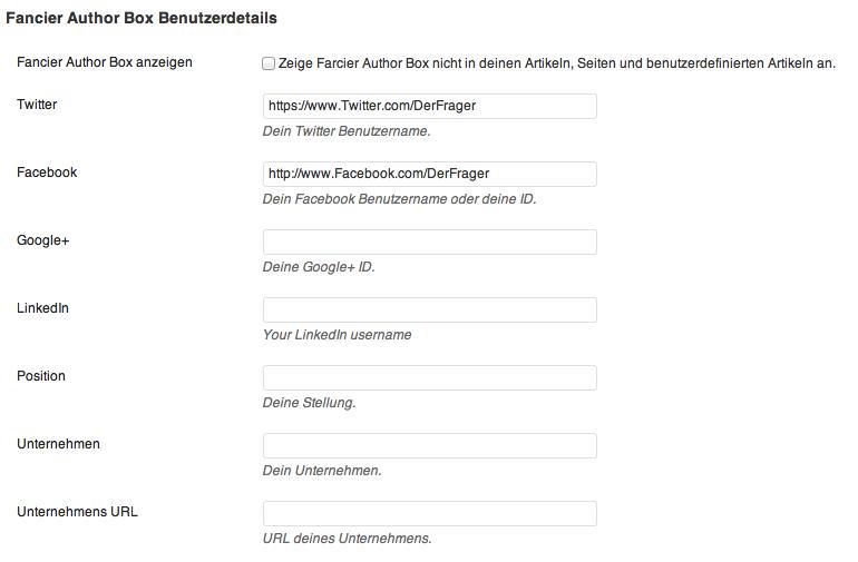 Unter Benutzer gebt ihr auch die Socialmedia-Links (Twitter, Facebook etc.) für as Autorenfeld an